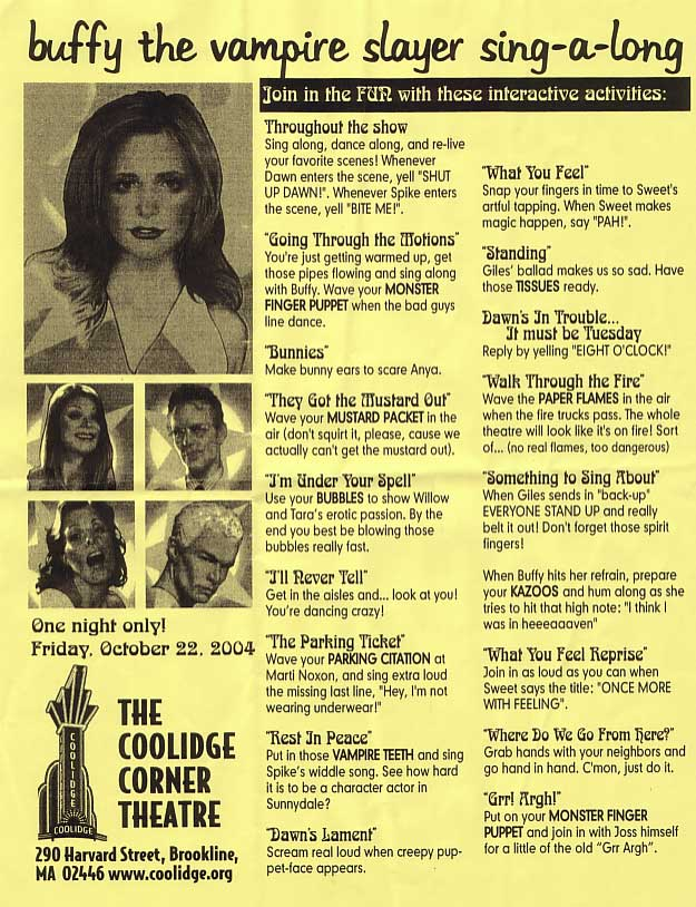 Buffy Singalong game flyer